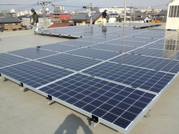 太陽光発電設備の設置が完了しました。